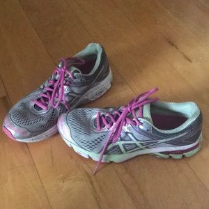 Green pink and grey ASICS sneakers